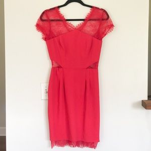 BCBGMAXAZRIA Red Lace Dress Size 4